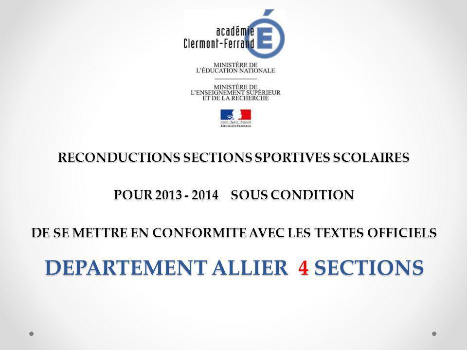 RECONDUCTIONS SECTIONS SPORTIVES SCOLAIRES POUR 2013 - 2014 SOUS CONDITION DE SE METTRE EN CONFORMITE AVEC LES TEXTES OFFICIELS DEPARTEMENT ALLIER 4 SECTIONS
