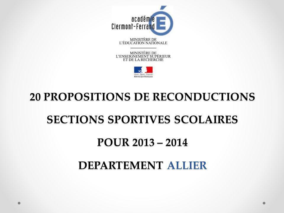 20 PROPOSITIONS DE RECONDUCTIONS SECTIONS SPORTIVES SCOLAIRES POUR 2013 – 2014 DEPARTEMENT ALLIER