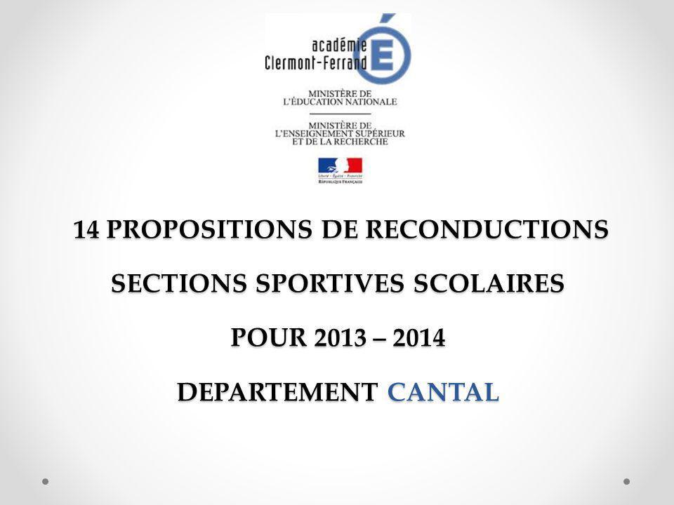 14 PROPOSITIONS DE RECONDUCTIONS SECTIONS SPORTIVES SCOLAIRES POUR 2013 – 2014 DEPARTEMENT CANTAL 14 PROPOSITIONS DE RECONDUCTIONS SECTIONS SPORTIVES SCOLAIRES POUR 2013 – 2014 DEPARTEMENT CANTAL