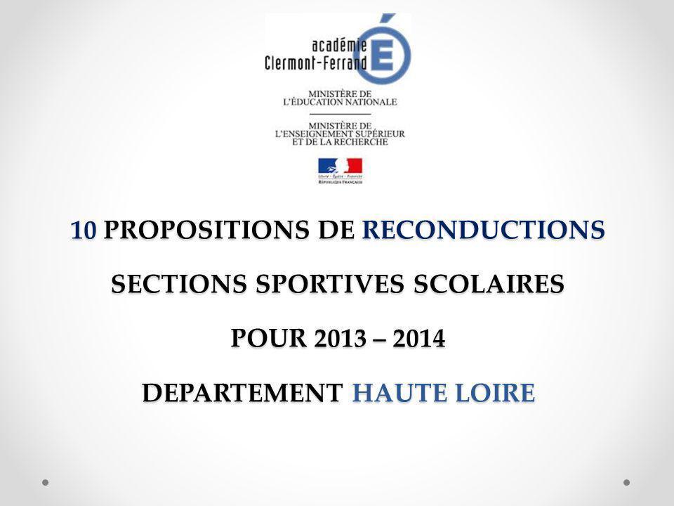10 PROPOSITIONS DE RECONDUCTIONS SECTIONS SPORTIVES SCOLAIRES POUR 2013 – 2014 DEPARTEMENT HAUTE LOIRE