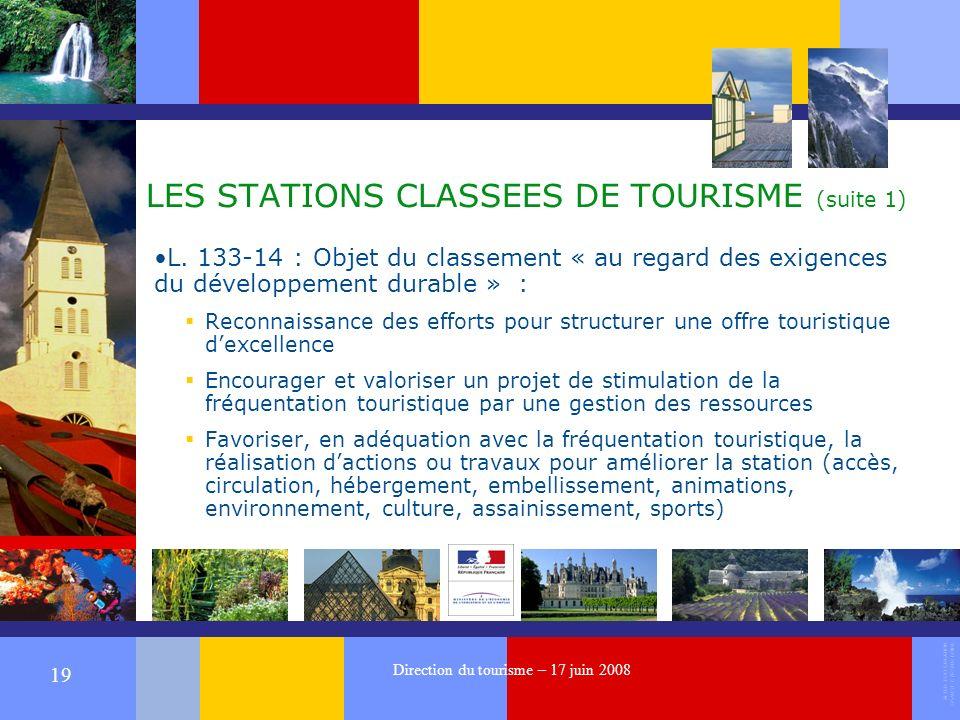 ALTER EGO CREATION 37540 ST CYR SUR LOIRE 19 Direction du tourisme – 17 juin 2008 LES STATIONS CLASSEES DE TOURISME (suite 1) L.