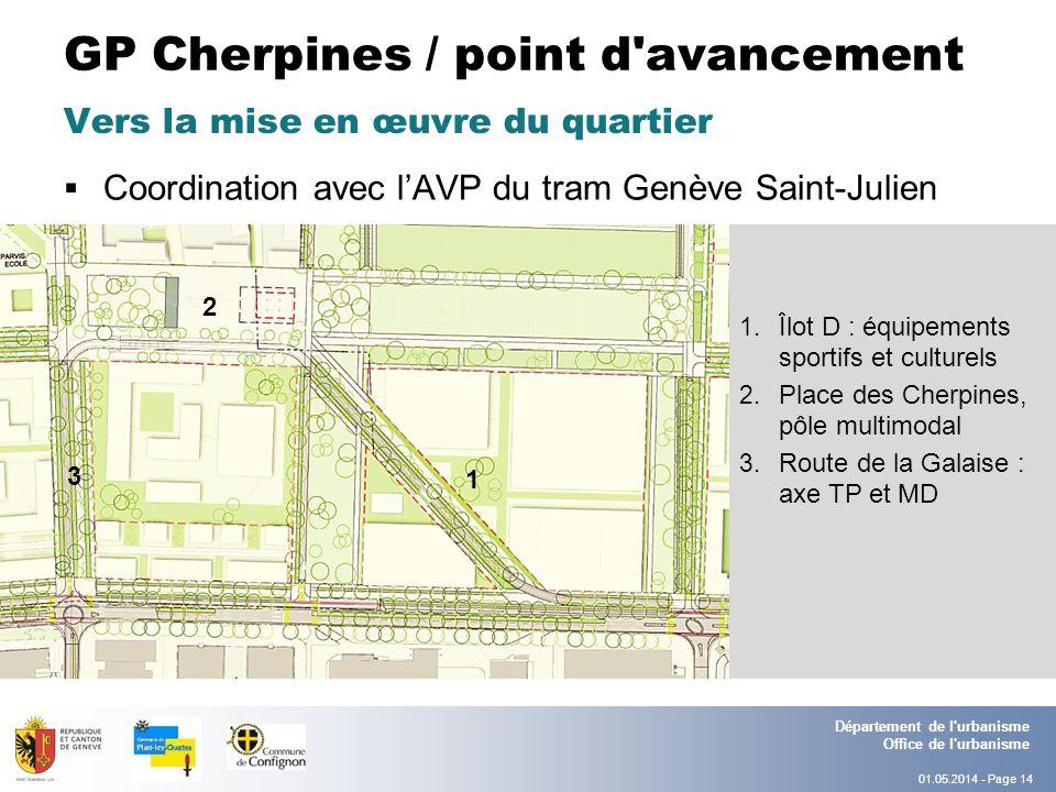 01.05.2014 - Page 14 Département de l urbanisme Office de l urbanisme GP Cherpines / point d avancement Coordination avec lAVP du tram Genève Saint-Julien Vers la mise en œuvre du quartier 1.