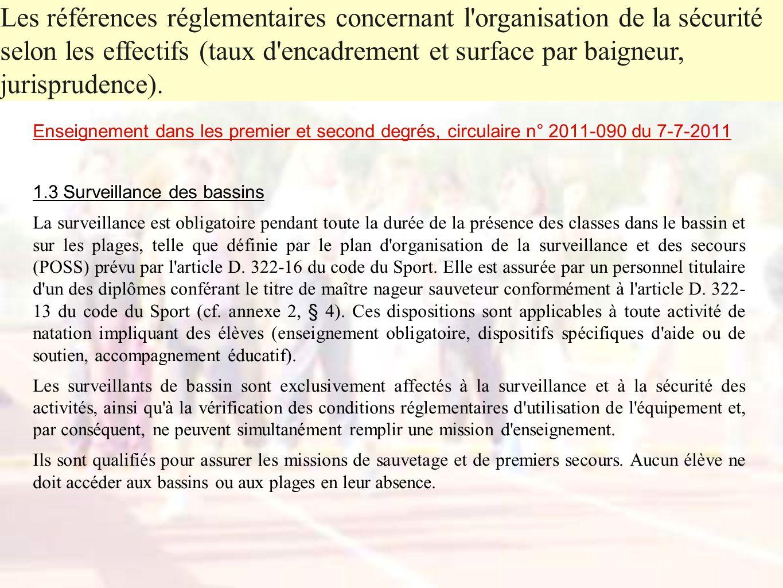 Enseignement dans les premier et second degrés, circulaire n° 2011-090 du 7-7-2011 1.3 Surveillance des bassins La surveillance est obligatoire pendan