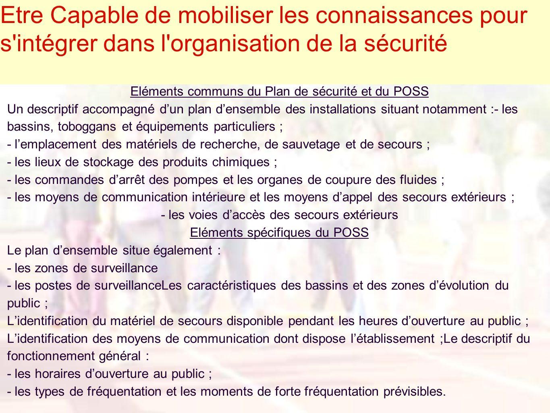 Etre Capable de mobiliser les connaissances pour s'intégrer dans l'organisation de la sécurité Eléments communs du Plan de sécurité et du POSS Un desc