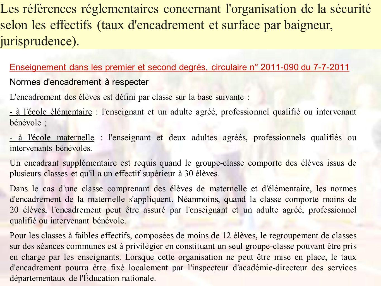 Enseignement dans les premier et second degrés, circulaire n° 2011-090 du 7-7-2011 Normes d'encadrement à respecter L'encadrement des élèves est défin