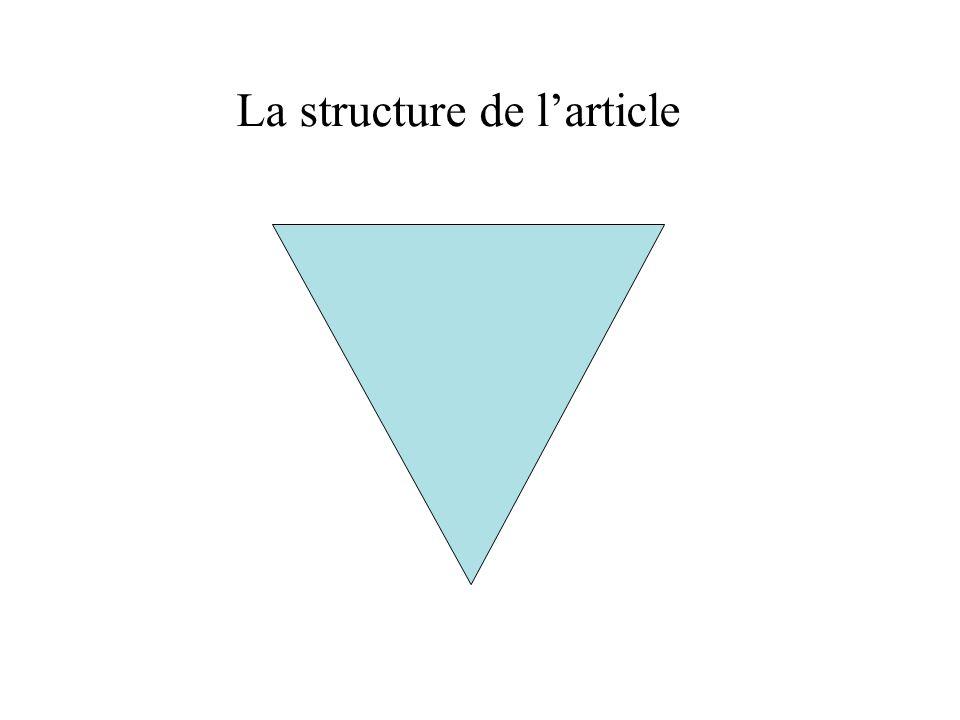 La structure de larticle