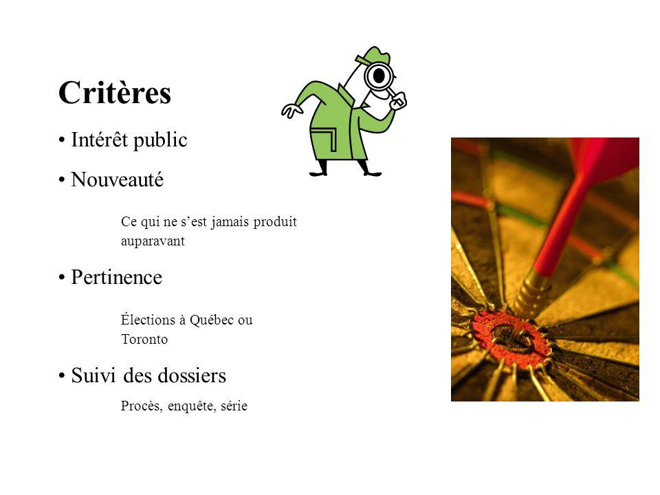 Critères Intérêt public Nouveauté Ce qui ne sest jamais produit auparavant Pertinence Élections à Québec ou Toronto Suivi des dossiers Procès, enquête