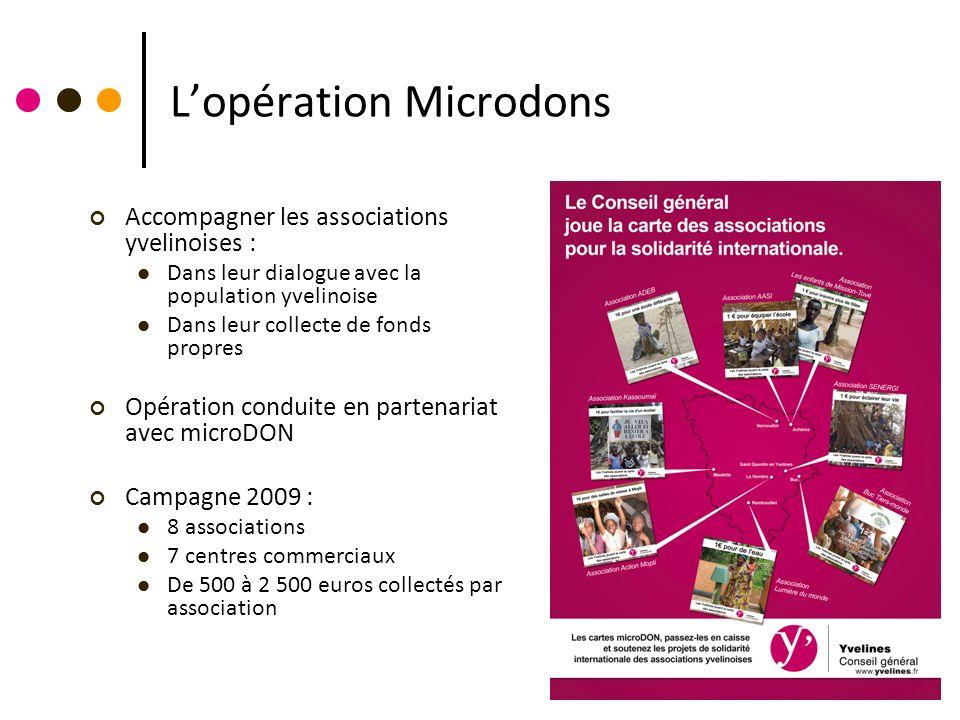 Lopération Microdons Accompagner les associations yvelinoises : Dans leur dialogue avec la population yvelinoise Dans leur collecte de fonds propres O