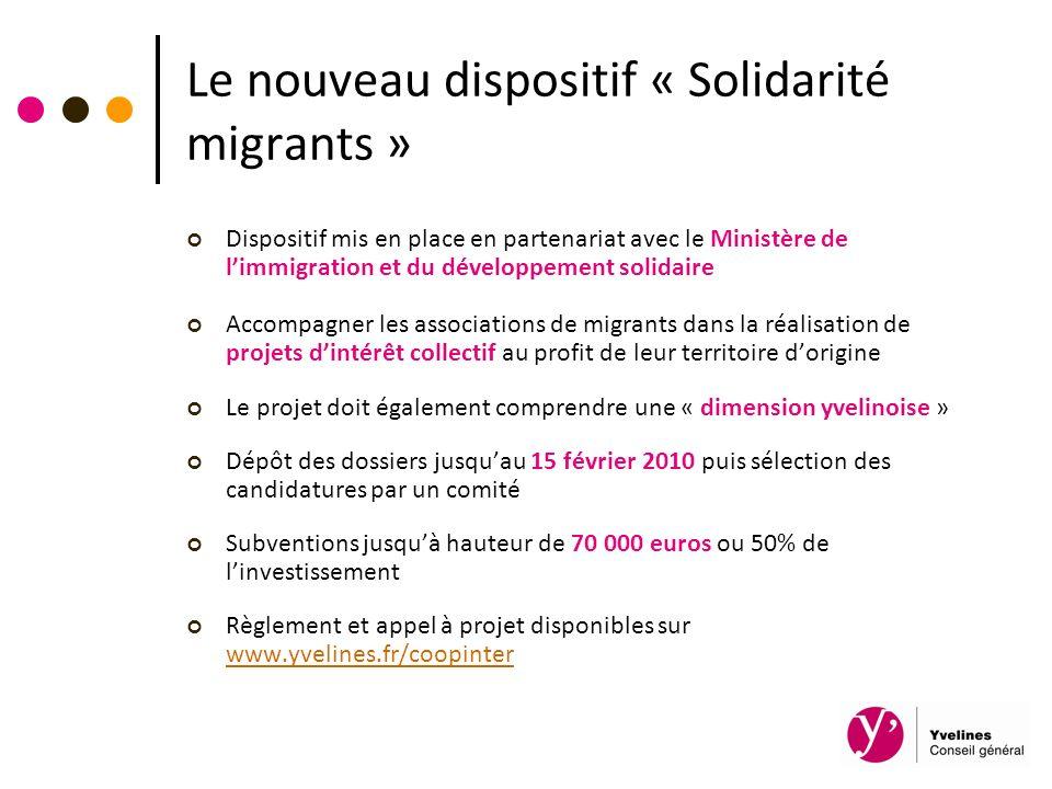 Le nouveau dispositif « Solidarité migrants » Dispositif mis en place en partenariat avec le Ministère de limmigration et du développement solidaire A