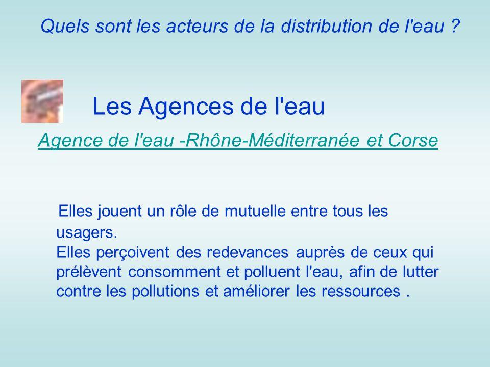 Quels sont les acteurs de la distribution de l'eau ? Les Agences de l'eau Agence de l'eau -Rhône-Méditerranée et Corse Elles jouent un rôle de mutuell