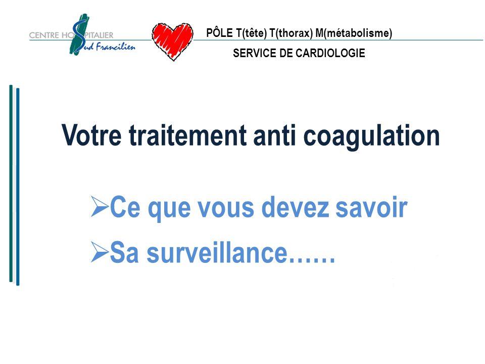 PÔLE T(tête) T(thorax) M(métabolisme) SERVICE DE CARDIOLOGIE LE RESULTAT Résultat donné en INR le même jour (International Normalized Ratio) INR = (TQ du patient/ TQ Témoin) Puissance ISI