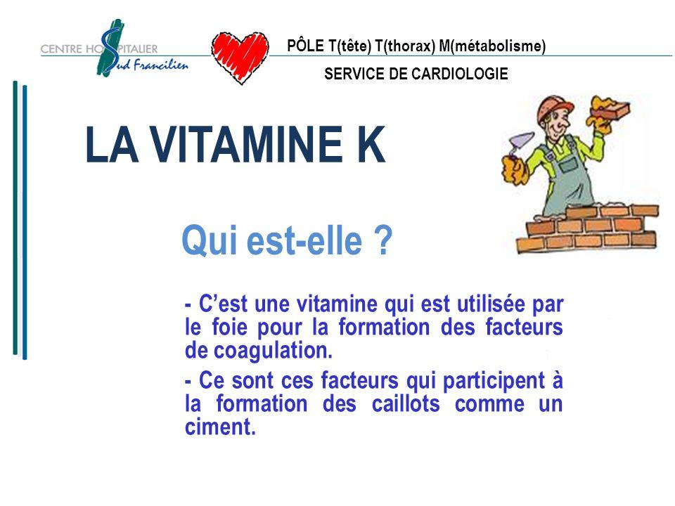 PÔLE T(tête) T(thorax) M(métabolisme) SERVICE DE CARDIOLOGIE LA VITAMINE K Dose de vitamine K normale = une viscosité et une coagulation naturelle Moins de vitamine k : moins de ciment, un sang plus fluide pouvant provoquer une hémorragie.