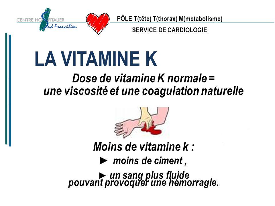 PÔLE T(tête) T(thorax) M(métabolisme) SERVICE DE CARDIOLOGIE EN RESUME Un anti-vitamine k est un médicament Suivez scrupuleusement les prescriptions médicales Evitez l automédication En cas de problèmes consulter votre médecin Carnet danticoagulation