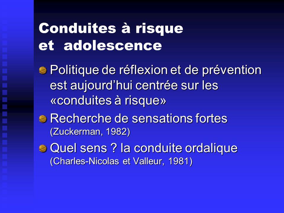 Conduites à risque et adolescence Politique de réflexion et de prévention est aujourdhui centrée sur les «conduites à risque» Recherche de sensations