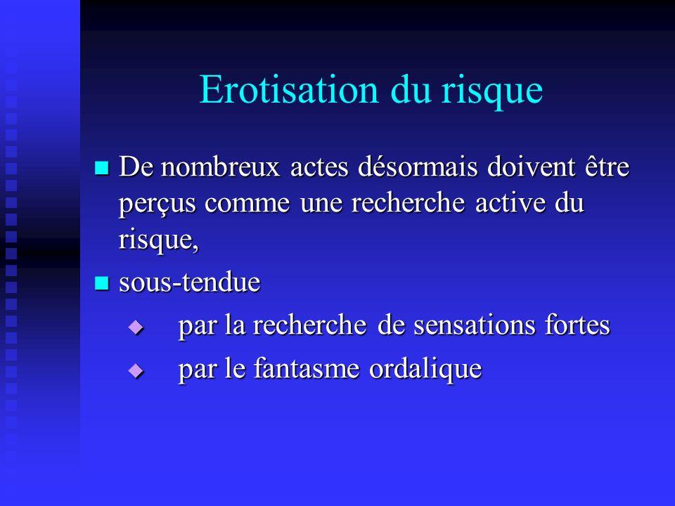 Erotisation du risque De nombreux actes désormais doivent être perçus comme une recherche active du risque, De nombreux actes désormais doivent être p