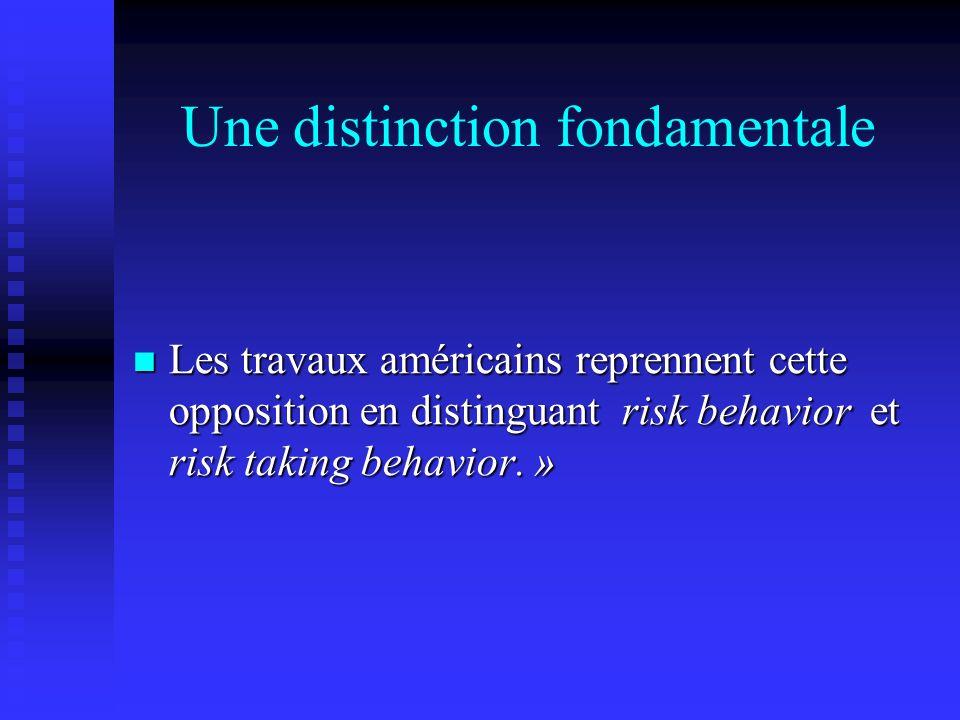 Une distinction fondamentale Les travaux américains reprennent cette opposition en distinguant risk behavior et risk taking behavior. » Les travaux am