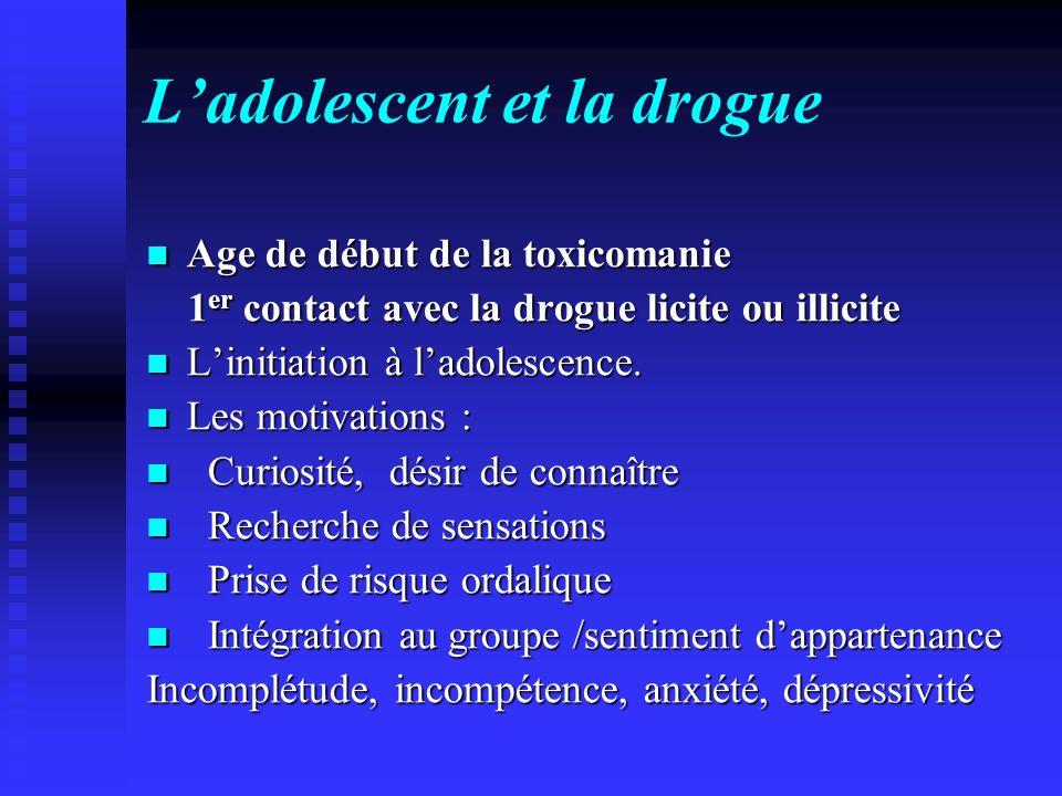 Ladolescent et la drogue Age de début de la toxicomanie Age de début de la toxicomanie 1 er contact avec la drogue licite ou illicite 1 er contact ave