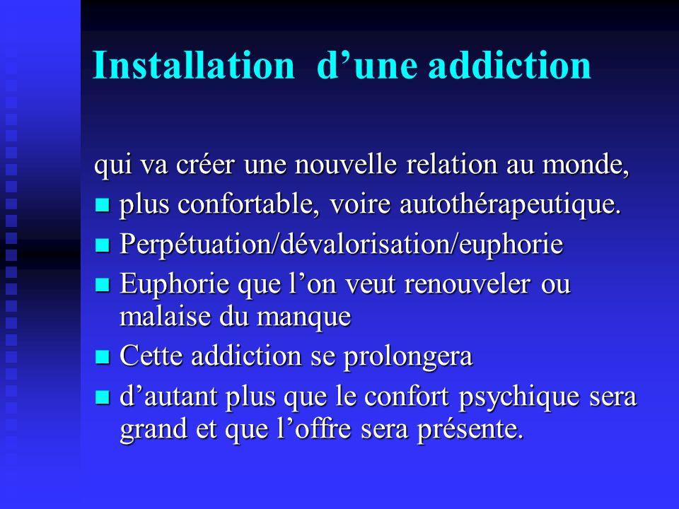 Installation dune addiction qui va créer une nouvelle relation au monde, plus confortable, voire autothérapeutique. plus confortable, voire autothérap