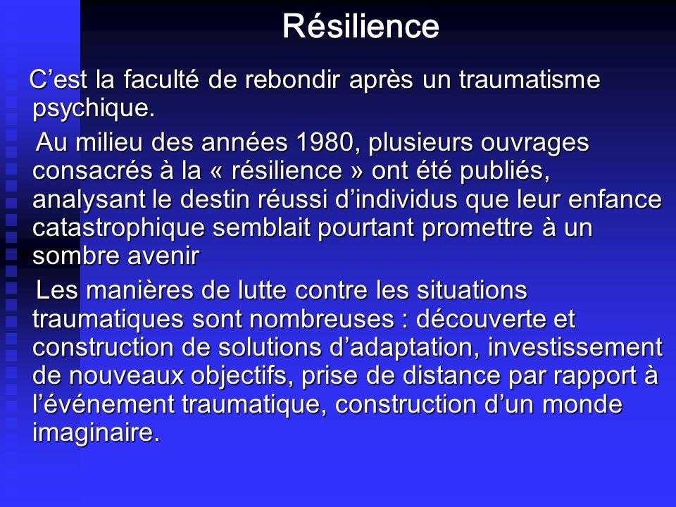 Résilience Cest la faculté de rebondir après un traumatisme psychique. Cest la faculté de rebondir après un traumatisme psychique. Au milieu des année