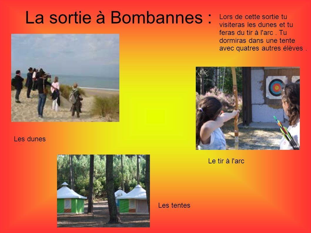 La sortie à Bombannes : Lors de cette sortie tu visiteras les dunes et tu feras du tir à l'arc. Tu dormiras dans une tente avec quatres autres élèves.