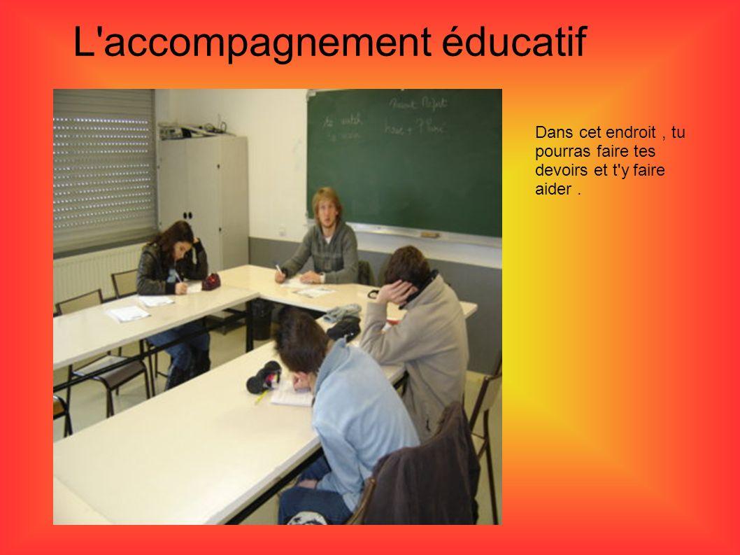 L'accompagnement éducatif Dans cet endroit, tu pourras faire tes devoirs et t'y faire aider.