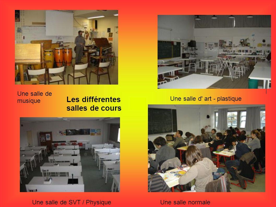 Les différentes salles de cours Une salle de musique Une salle d' art - plastique Une salle de SVT / PhysiqueUne salle normale