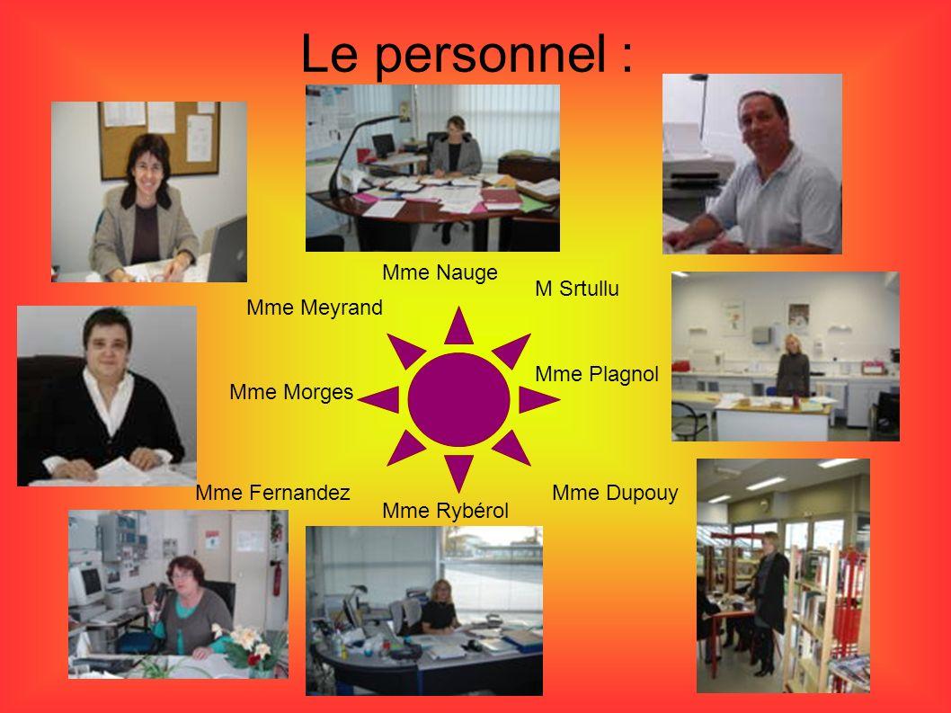 Le personnel : Mme Morges Mme Meyrand Mme Fernandez Mme Rybérol Mme Dupouy Mme Nauge Mme Plagnol M Srtullu