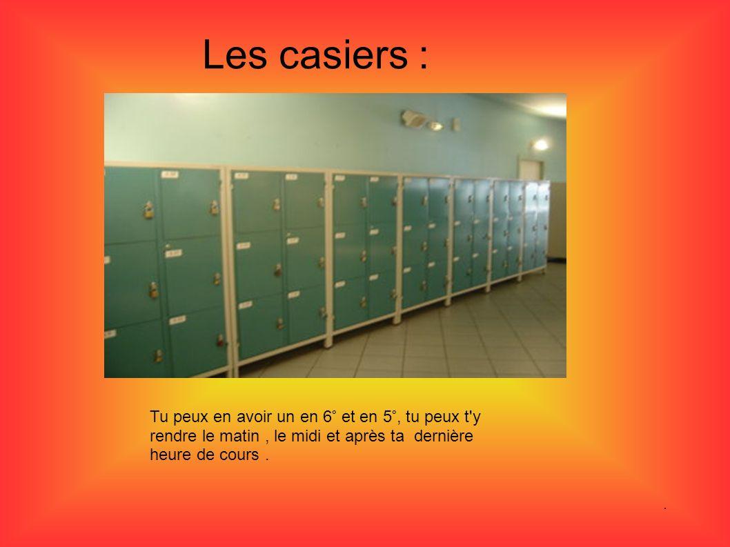 Les casiers : Tu peux en avoir un en 6° et en 5°, tu peux t'y rendre le matin, le midi et après ta dernière heure de cours.