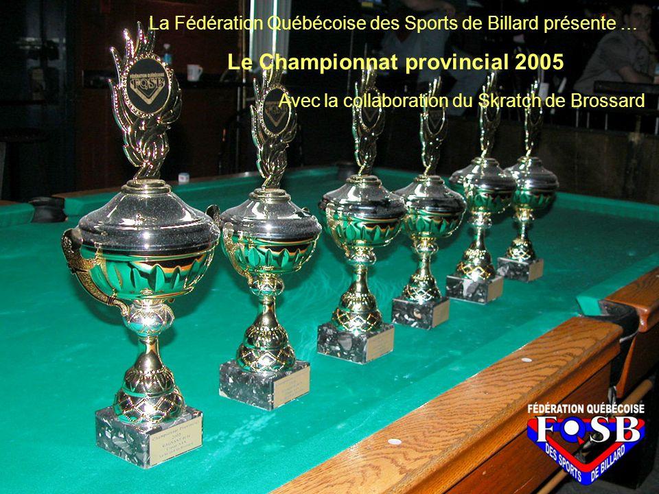 La Fédération Québécoise des Sports de Billard présente … Le Championnat provincial 2005 Avec la collaboration du Skratch de Brossard