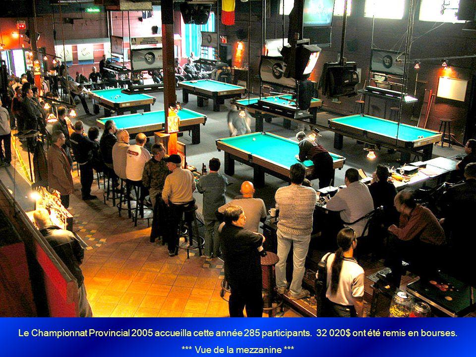 Le Championnat Provincial 2005 accueilla cette année 285 participants. 32 020$ ont été remis en bourses. *** Vue de la mezzanine ***