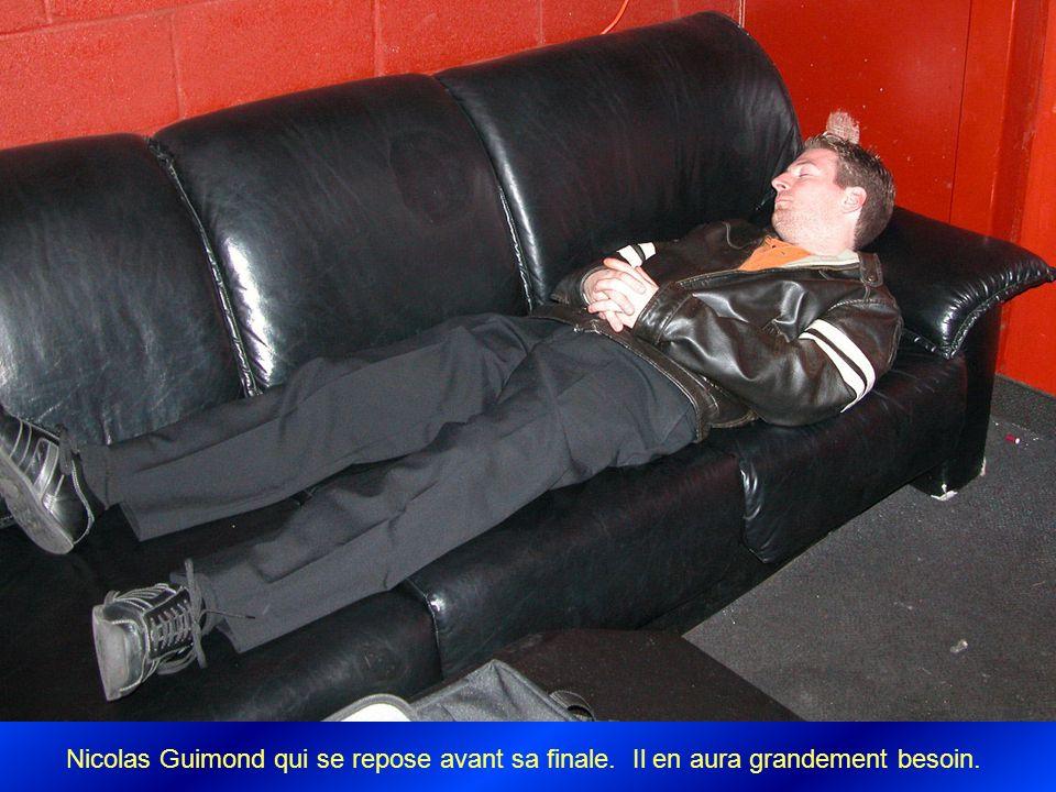 Nicolas Guimond qui se repose avant sa finale. Il en aura grandement besoin.