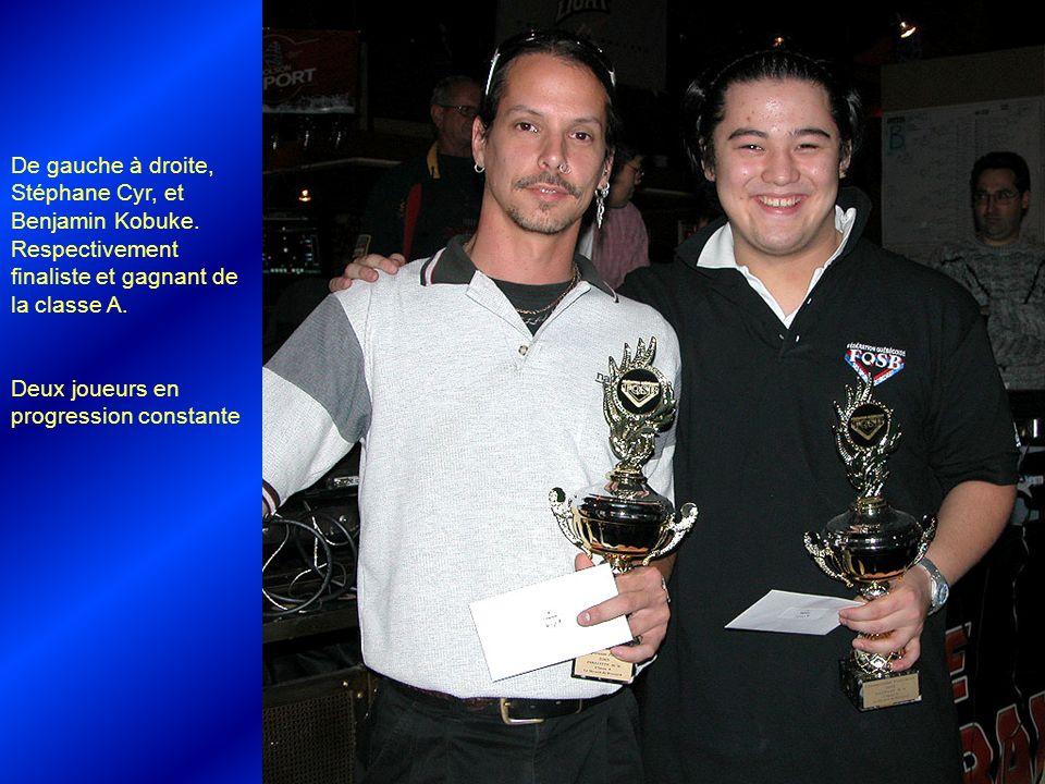 De gauche à droite, Stéphane Cyr, et Benjamin Kobuke. Respectivement finaliste et gagnant de la classe A. Deux joueurs en progression constante