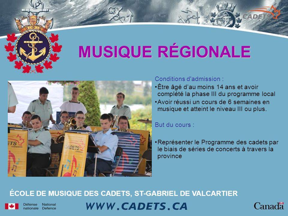 Conditions d'admission : Être âgé dau moins 14 ans et avoir complété la phase III du programme local Avoir réussi un cours de 6 semaines en musique et