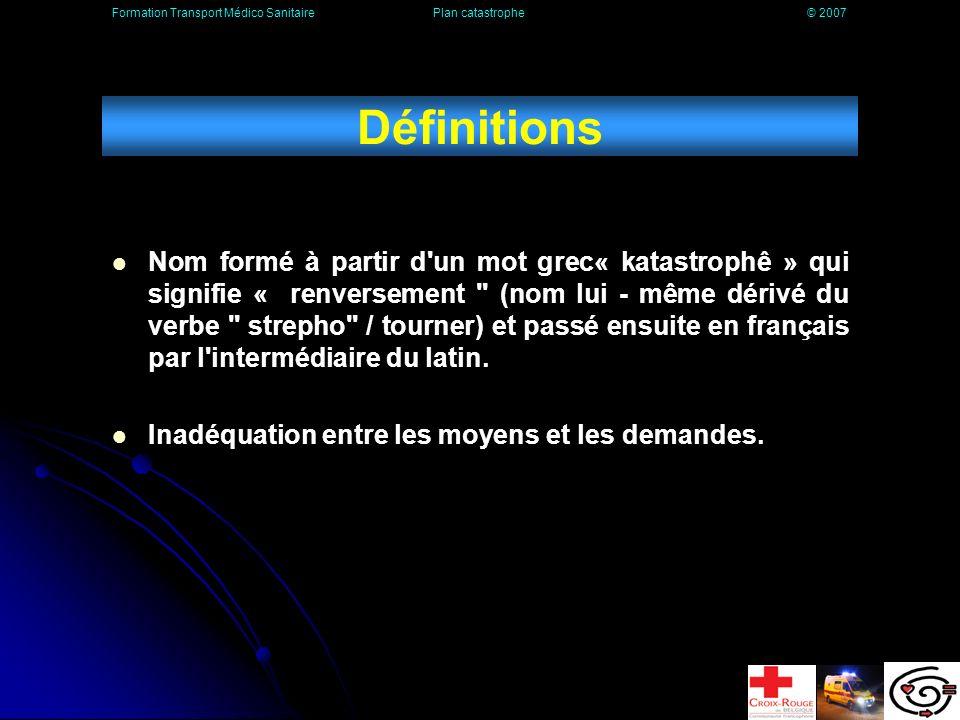 Définitions Nom formé à partir d un mot grec« katastrophê » qui signifie « renversement (nom lui - même dérivé du verbe strepho / tourner) et passé ensuite en français par l intermédiaire du latin.