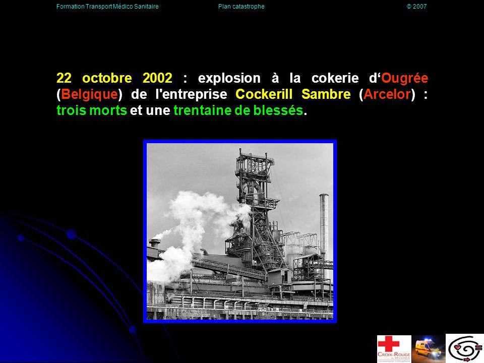 22 octobre 2002 : explosion à la cokerie dOugrée (Belgique) de l entreprise Cockerill Sambre (Arcelor) : trois morts et une trentaine de blessés.