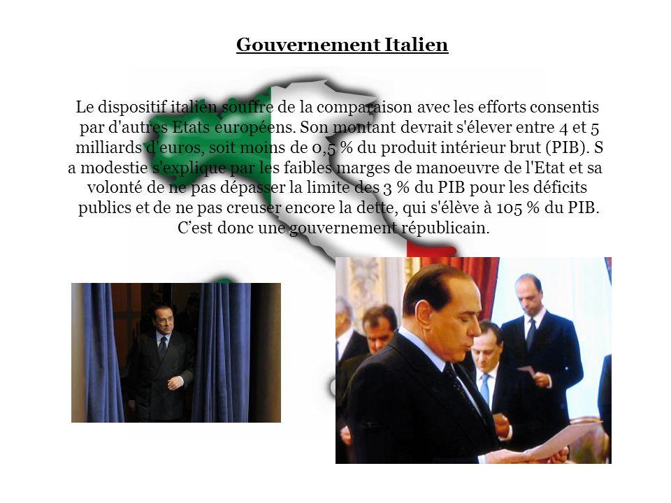 Gouvernement Italien Le dispositif italien souffre de la comparaison avec les efforts consentis par d'autres Etats européens. Son montant devrait s'él