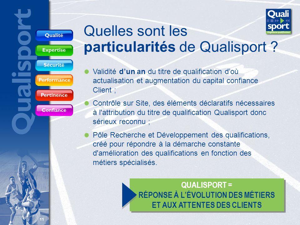 11 Quelles sont les particularités de Qualisport ? Validité dun an du titre de qualification doù actualisation et augmentation du capital confiance Cl