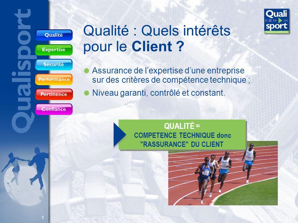 33 Qualité : Quels intérêts pour le Client ? Assurance de lexpertise dune entreprise sur des critères de compétence technique ; Niveau garanti, contrô