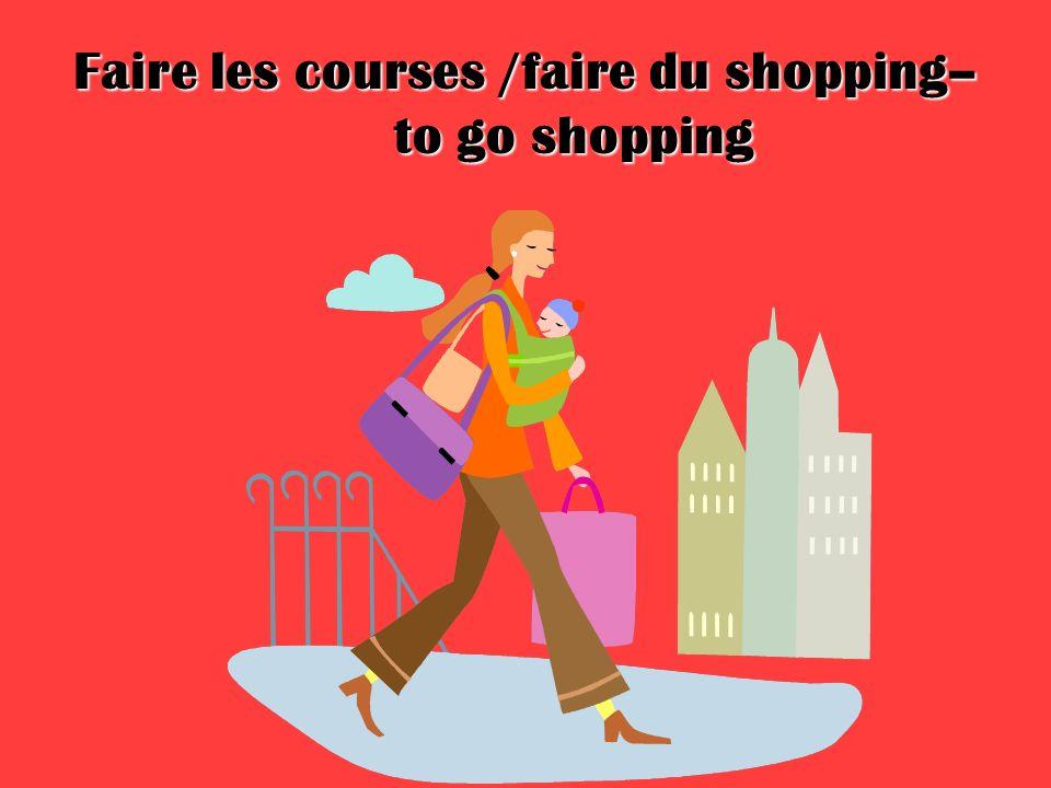 Faire les courses /faire du shopping– to go shopping