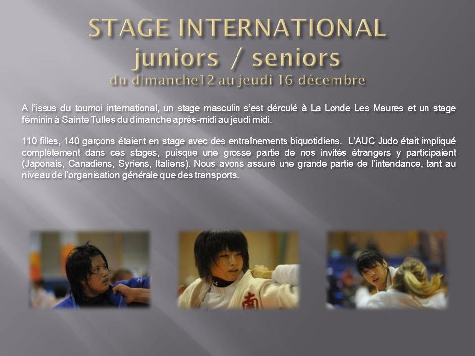A lissus du tournoi international, un stage masculin sest déroulé à La Londe Les Maures et un stage féminin à Sainte Tulles du dimanche après-midi au