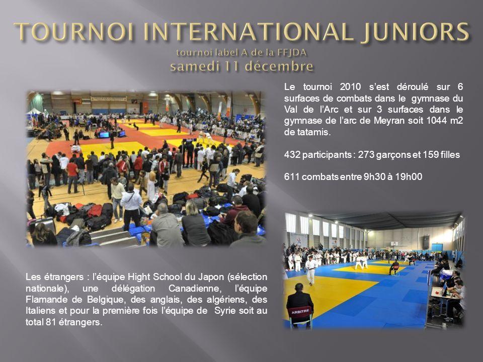 Le tournoi 2010 sest déroulé sur 6 surfaces de combats dans le gymnase du Val de lArc et sur 3 surfaces dans le gymnase de larc de Meyran soit 1044 m2