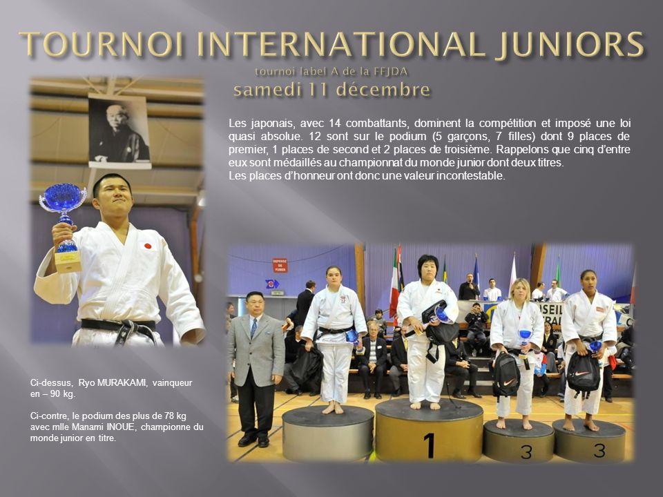 Les japonais, avec 14 combattants, dominent la compétition et imposé une loi quasi absolue. 12 sont sur le podium (5 garçons, 7 filles) dont 9 places
