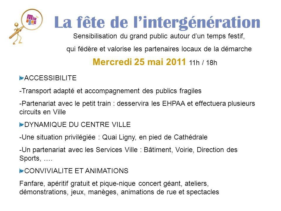 La fête de lintergénération Mercredi 25 mai 2011 11h / 18h ACCESSIBILITE -Transport adapté et accompagnement des publics fragiles -Partenariat avec le