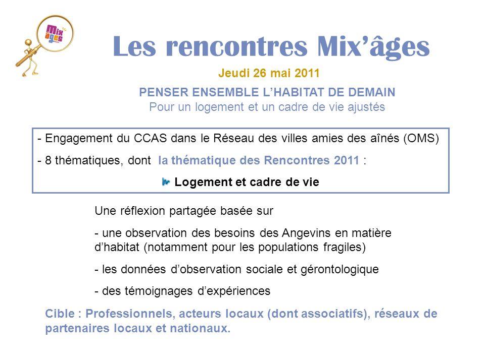 Les rencontres Mixâges Jeudi 26 mai 2011 - Engagement du CCAS dans le Réseau des villes amies des aînés (OMS) - 8 thématiques, dont la thématique des