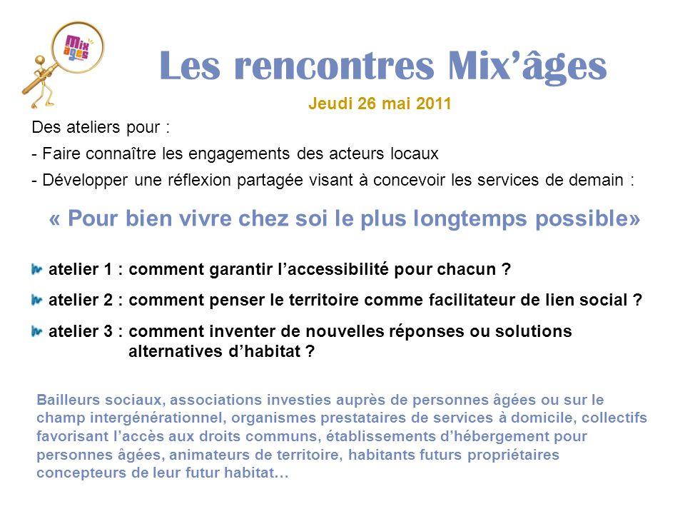 Les rencontres Mixâges Jeudi 26 mai 2011 Des ateliers pour : - Faire connaître les engagements des acteurs locaux - Développer une réflexion partagée