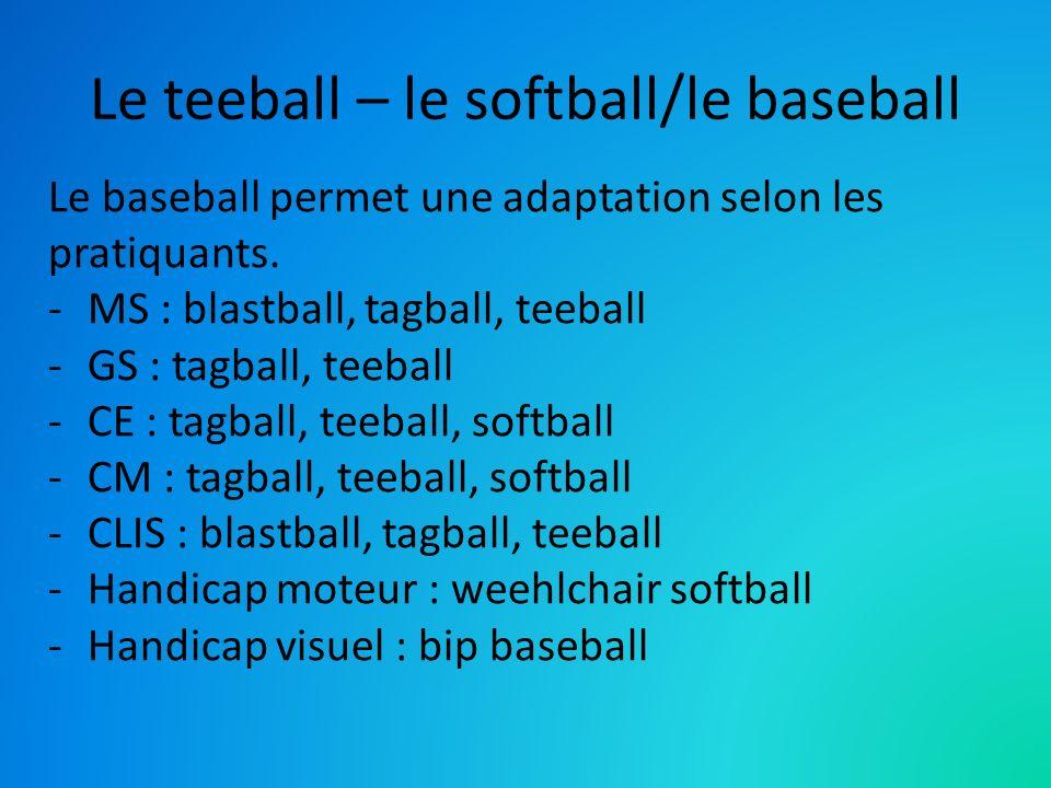 Le teeball – le softball/le baseball Le baseball permet une adaptation selon les pratiquants. -MS : blastball, tagball, teeball -GS : tagball, teeball