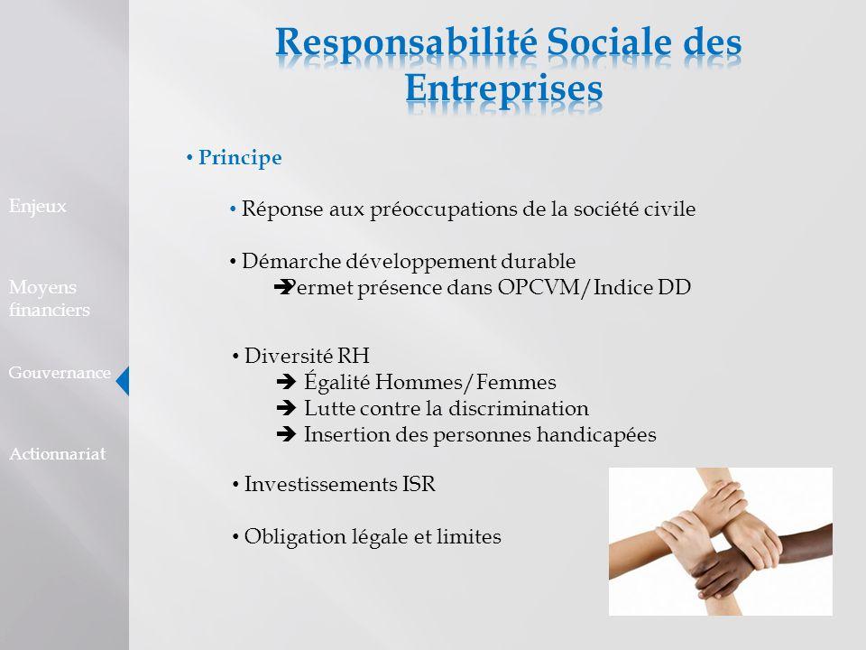 Principe Réponse aux préoccupations de la société civile Démarche développement durable Permet présence dans OPCVM/Indice DD Enjeux Moyens financiers