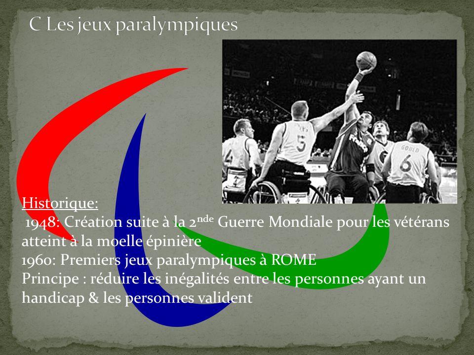 Historique: 1948: Création suite à la 2 nde Guerre Mondiale pour les vétérans atteint à la moelle épinière 1960: Premiers jeux paralympiques à ROME Pr