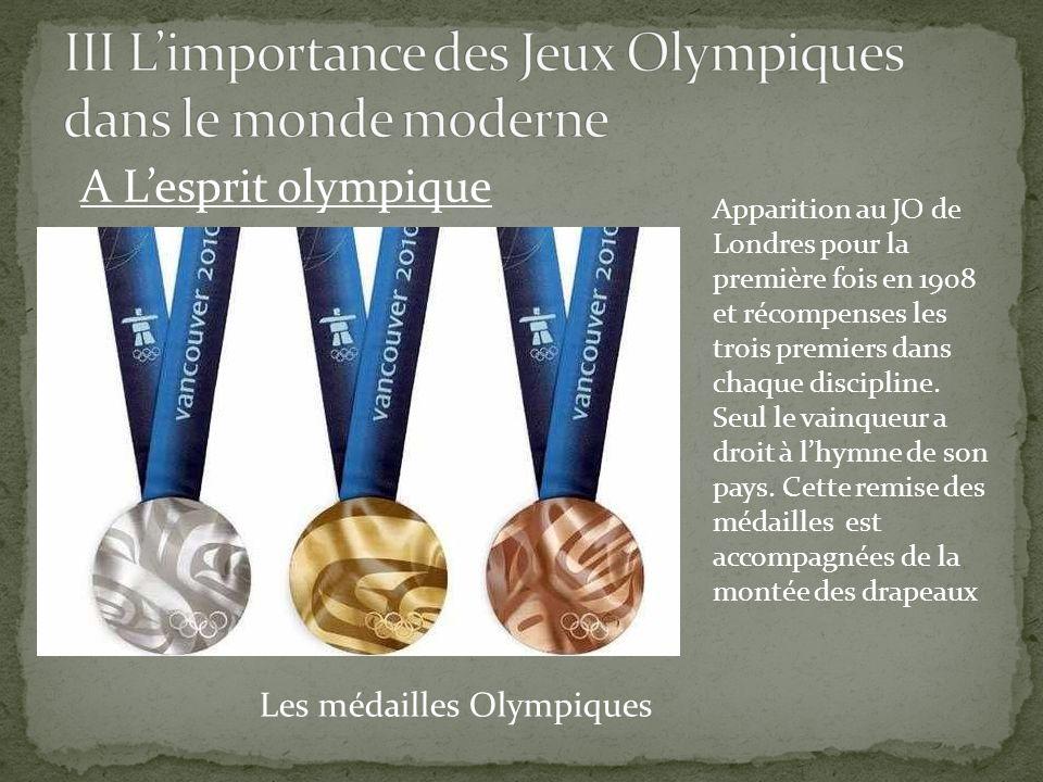 A Lesprit olympique Les médailles Olympiques Apparition au JO de Londres pour la première fois en 1908 et récompenses les trois premiers dans chaque d