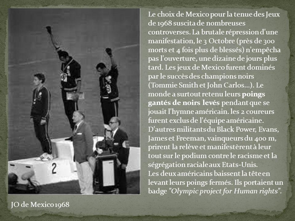 Le choix de Mexico pour la tenue des Jeux de 1968 suscita de nombreuses controverses. La brutale répression d'une manifestation, le 3 Octobre (près de